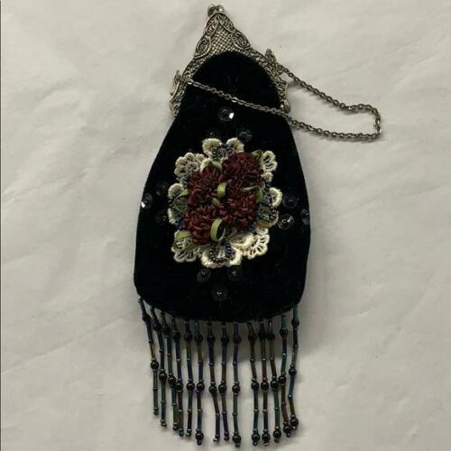Vintage Black Velvet Beaded Fringe Mini Purse