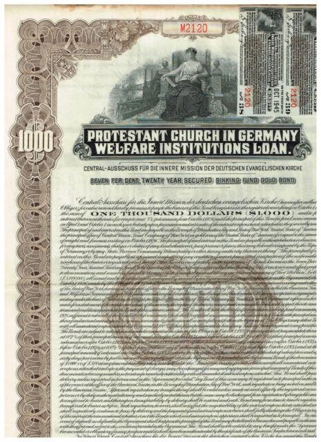 Protestant Church in Germany, 1926, 1000$ Gold Bond, braun