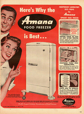1950s vintage appliance Ad, AMANA Food Freezers, 50s style art -121813