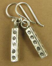 Long flower stamped earrings. Square/cube. Fine silver. Sterling silver hooks.