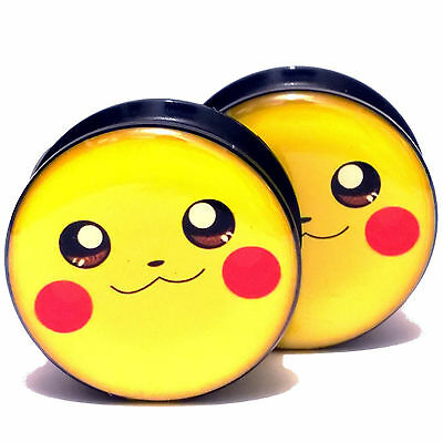 Pair Acrylic Ear Plugs Screw Fit Gauges Tunnels Earrings - Pokemon Pikachu Logo