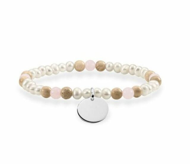 Thomas Sabo TLBA0110-17 Bracelet RoseQuartz/Jasper/Pearl S/Silver 17.5cm RRP$119