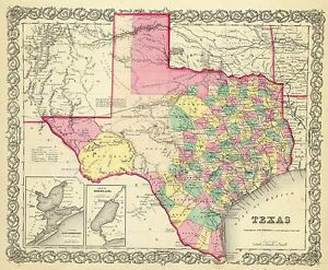 Old Map Of Texas.Details About Map Of The State Of Texas 1856 Poster Vintage Old Map Giclee Canvas Print 39x32