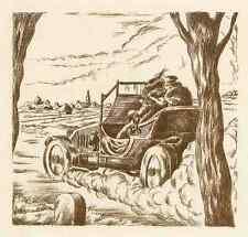 Paese partita con automobilistica-Patrick de Manceau-ACQUAFORTE ORIGINALE 1949