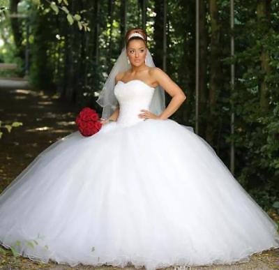 New Ball Wedding Dress Sweetheart White Ivory Corset Tulle Princess Bridal Gown Ebay