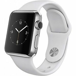 ba4cf6b03136 Apple Watch 42mm Stainless Steel Case White Sport Band - (MJ3V2LL/A ...