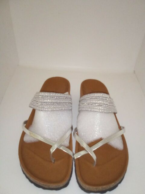 Modabella Women's Cork Wedge Heel Thong Sandals Size 9.5 silver Beaded Strap