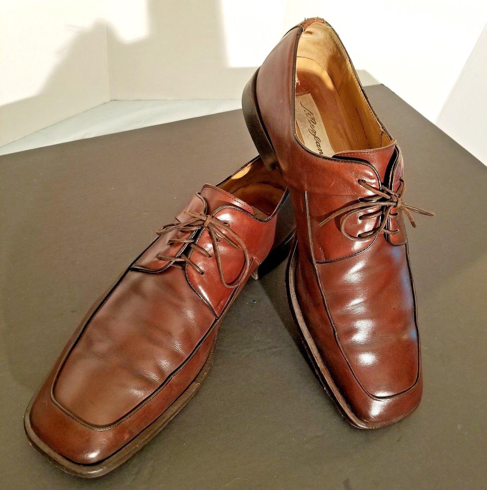 MEZLAN  Men's Brown Leather Square Toe Super Prime shoes Lace Up Sz 10.5 Medolla