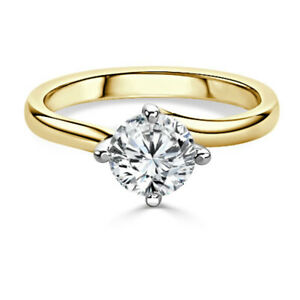 2.00 Ct Round Cut Moissanite Anniversary Superb Ring 18K Real Yellow Gold Size 4