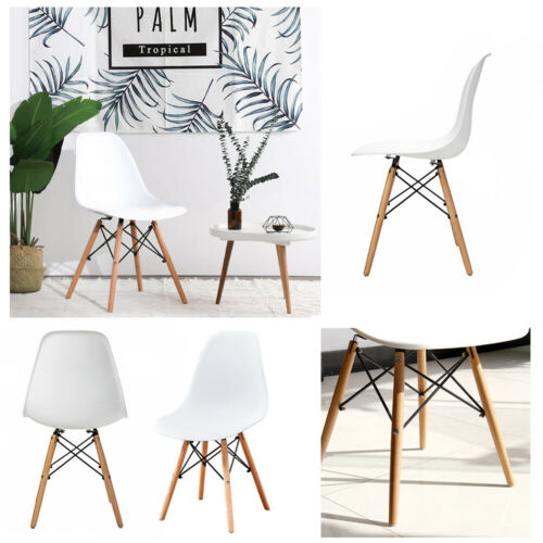 1 2 4 Set Dining Chairs Office Plastic Lounge Kitchen Wooden Legs Retro White
