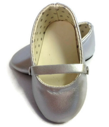 Silver Flats Shoes made for 18 American Girl Doll Clothes