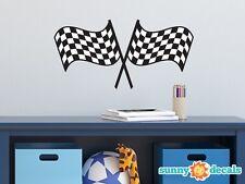 Racing Checkered Flags Fabric Wall Decal - NASCAR Inspired Racing Fabric Decor