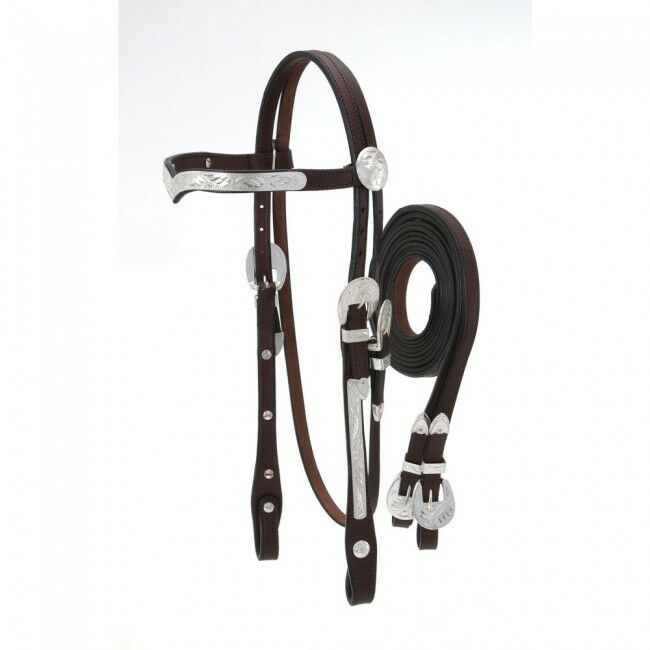 Royal King V Browband Show Headstall  with reins- Dark Oil - Full