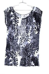 a-n-a-Top-Black-amp-White-Sequin-Animal-Print-Design-Pullover-Long-T-Shirt-Size-L