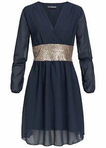huge selection of 978c7 4ebfe Details zu 36% OFF B19026095 Damen Violet Kleid kurz Langarm Chiffon Kleid  Pailletten blau