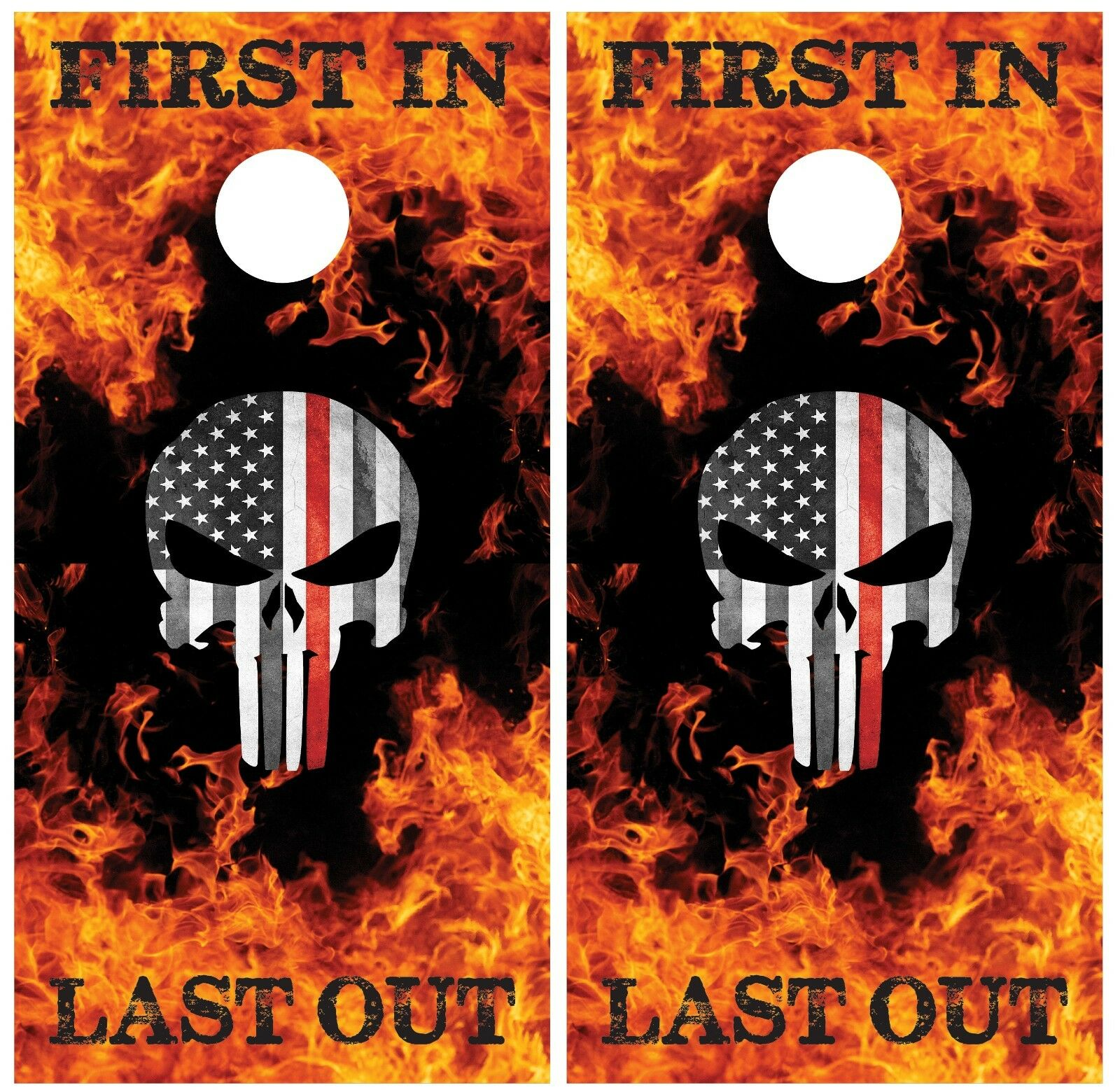 Firefighter Punisher Skull First In Last  Out Cornhole Board Decal Wrap Wraps  big discount prices