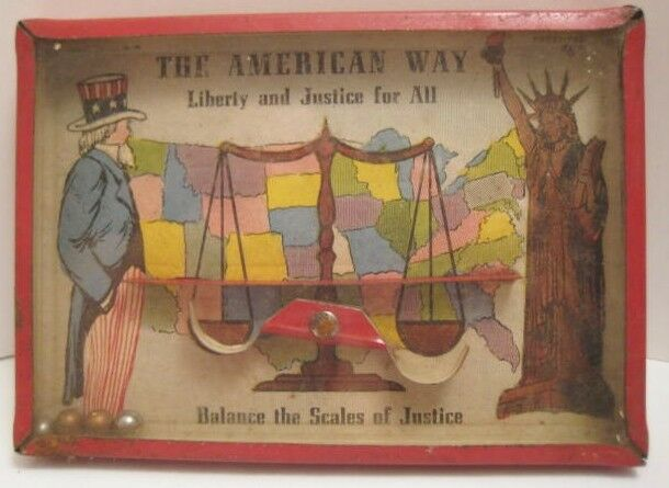 Old Dexterity Puzzle - The Scales of Justice w  Uncle Sam & Statue of Liberty
