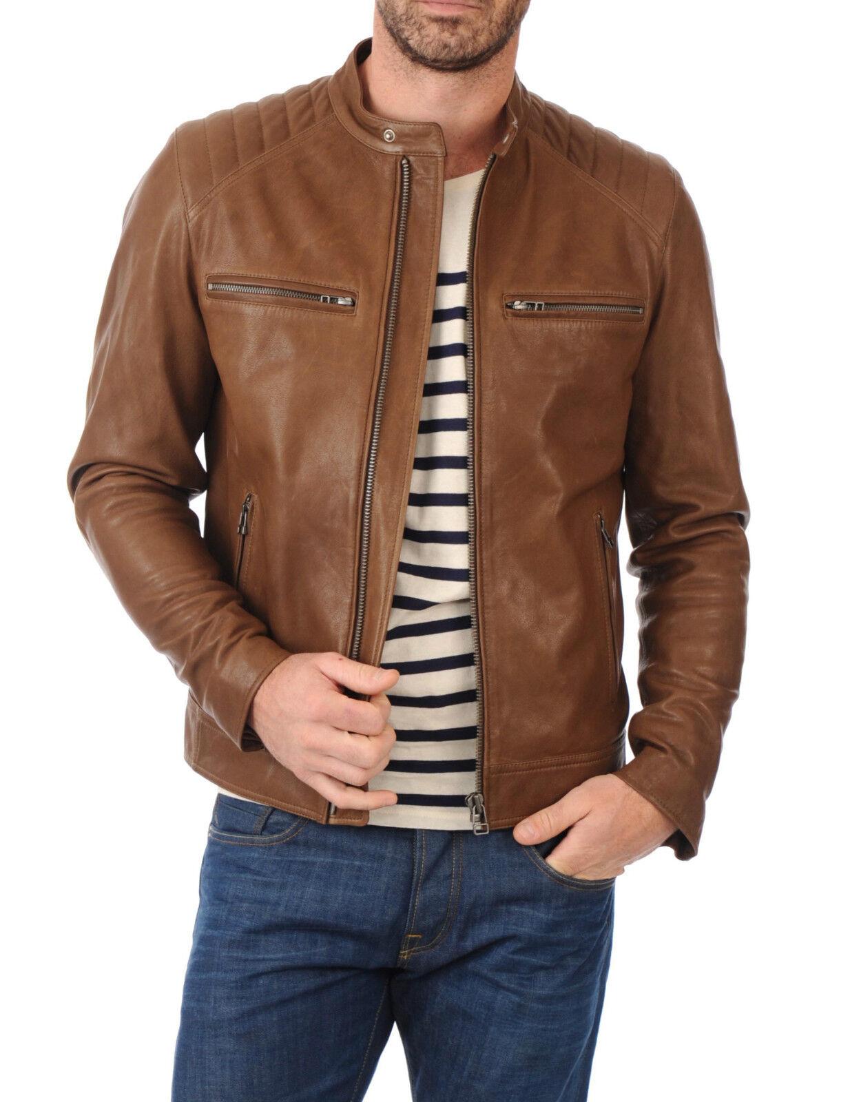 DE Herren Lederjacke Biker férfi bőr kabát kabát Homme Veste En cuir R90c