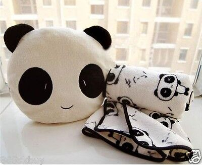 Lovely Cute Plush Panda Pillow Cushion Nap Car Sofa Bolster w/ Blanket 2 in1