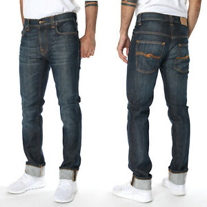 Nudie-Herren-Slim-Fit-Bio-Denim-Stretch-Jeans-Hose-Thin-Finn-Cold-Denim-W31