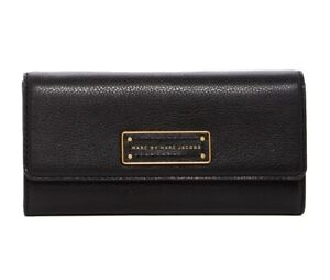 NWT-Marc-Jacobs-Too-Hot-To-Handle-Flap-Leather-Evnelope-Wallet-BLACK-AUTHENTIC
