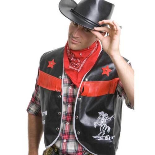 Men/'s Wild Western Cowboy Costume Adult Vest Black w Red Bandana Rodeo Party