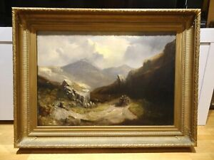 Large-19th-Century-Welsh-Valley-Landscape-Horse-amp-Cart-Antique-Oil-Painting