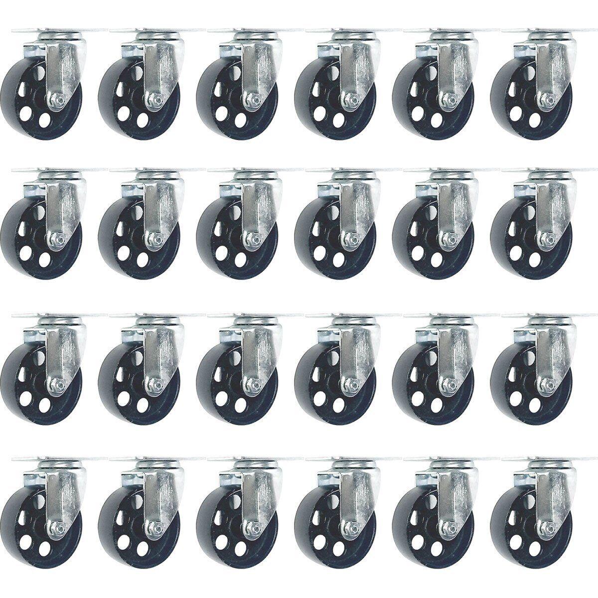 24 All Steel Swivel Caster Wheels Heavy Duty Steel (4  No Brake)