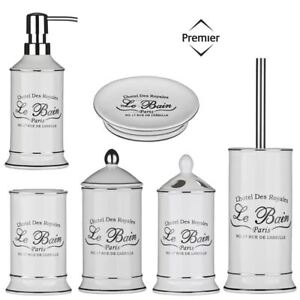Surprising Details About 6 Piece Le Bain Shabby Chic Ceramic White Bathroom Accessories Storage Set Home Interior And Landscaping Ologienasavecom