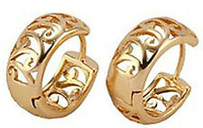 NWOT 9k Yellow Gold Filled Openwork Design Huggie Hoop Pierced Earrings