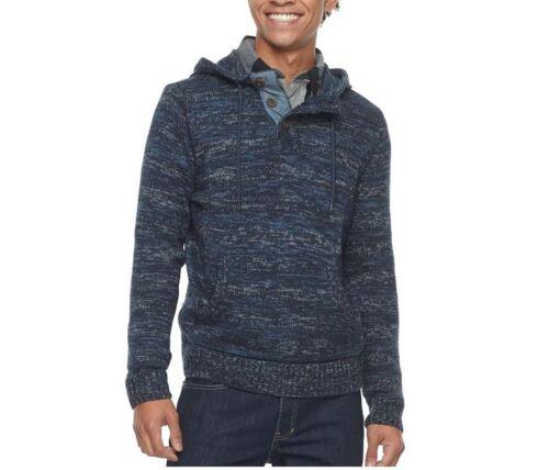 Urban Pipeline Hooded Henley Sweater Men/'s L XL XXL Black Navy or Port New $70