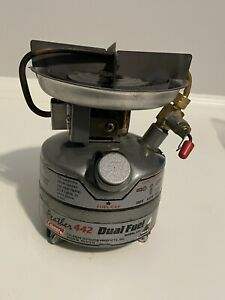 Coleman Peak Feather 442 Dual Fuel Stove One Burner Hiking Camping Works 5/97