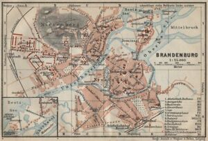 Brandenburg An Der Havel Vintage Town City Stadtplan Berlin Karte
