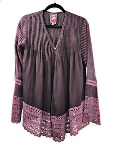 Johnny-Was-Size-XS-Blouse-Tunic-Button-Down-Womens-Long-Sleeve-Purple-Plum