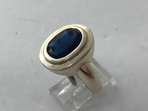 Argent Sterling .925 16 mm x 19 mm Ovale Vert//Bleu CZ Bague Taille 10