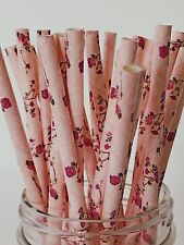100 Flower Paper Straws 100% Biodegradable Fancy Floral Straw Cake pop Sticks