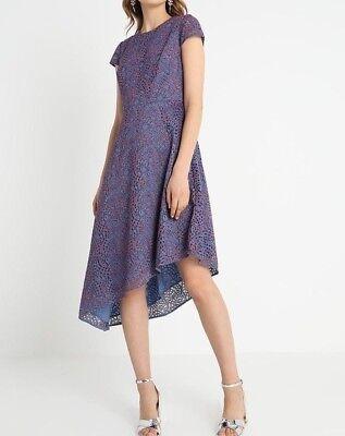 Banana Republic Women/'s Blue//Red Lace Asymmetric Hem Cap Sleeve Dress Size 2