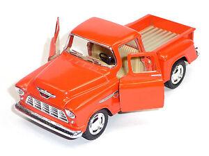 Modele-de-collection-1955-Chevrolet-3100-pick-up-1-32-Stepside-Orange-kinsmart-article-neuf