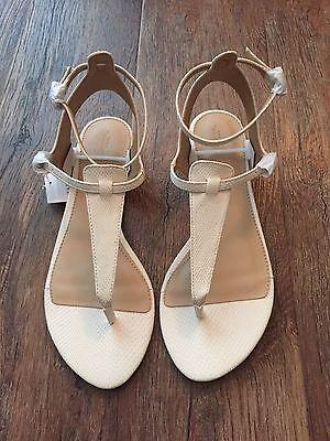 ZARA Women's Ankle Strap Sandal(Ivory, US 8/EUR 39)