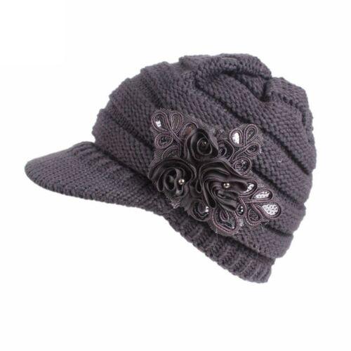 New Ladies Womens Girls Wool Peaked Cap Winter Warm Black Beret Hat Flower UK