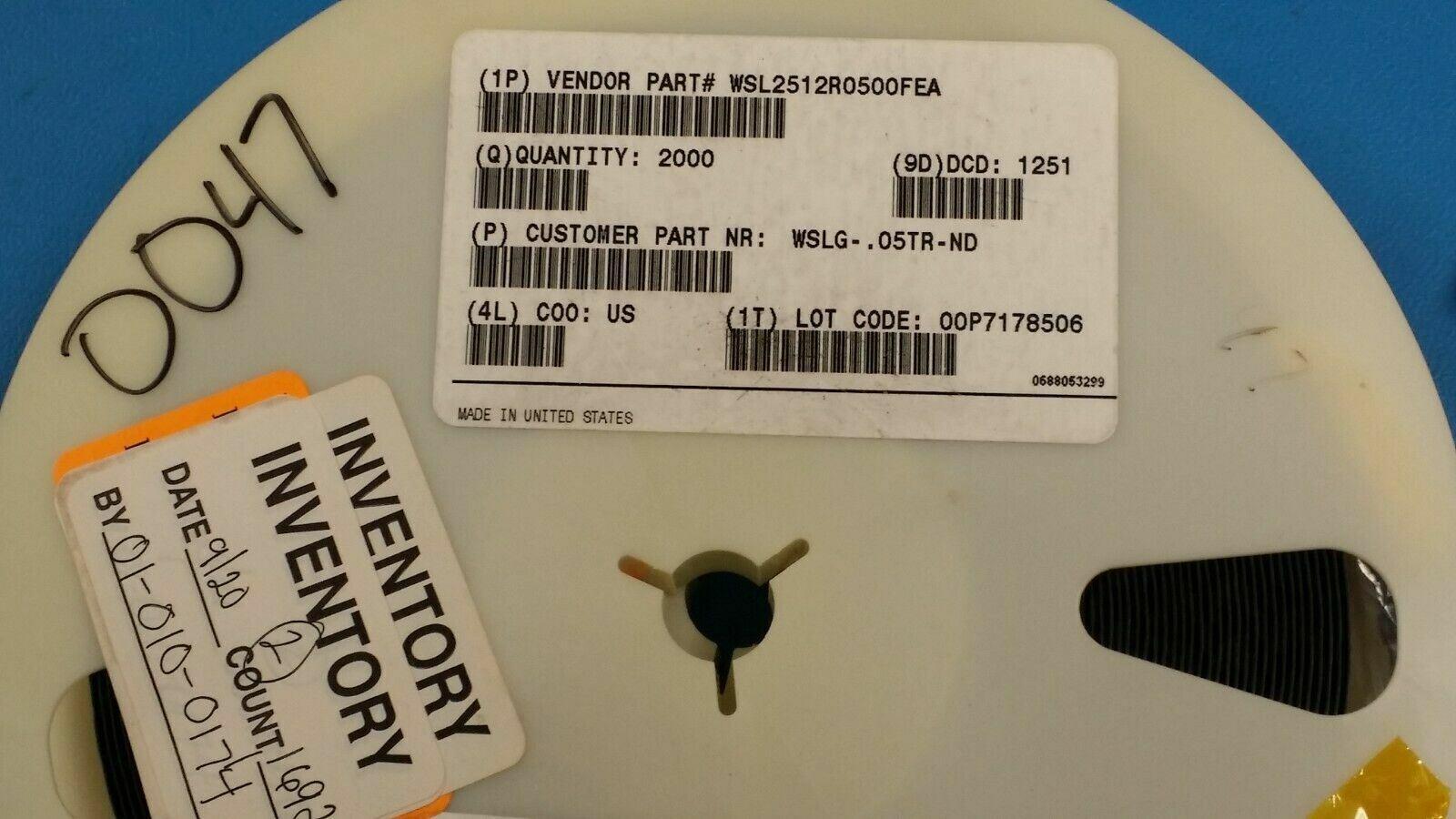 SMD 1//4watt .012ohms 1/% 5 pieces Current Sense Resistors