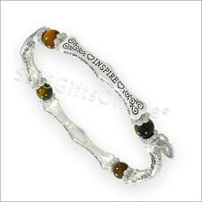 Antique Silver Tone Tiger Eye Inspire Sentiment Message Bracelet / Bangle
