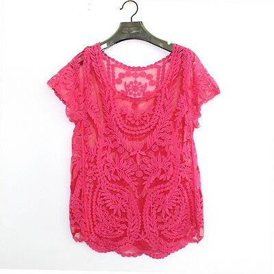 New Sexy Lace Crochet Womens Short Sleeve Shirt Embroidery Floral Tops Blouse