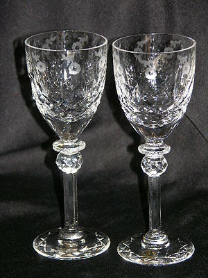 "Two Rogaska Gallia 6 3/4"" Crystal Wine Port Sherry Goblet Stem Glasses NWT"