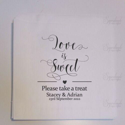 Personnalisé Blanc Doux Sacs mariage faveur Candy Panier LOVE IS SWEET 19 lshbw