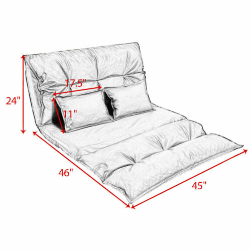 Foldable Floor Sofa Bed Living Room Furniture Lounge Bed Video Game w// 2 Pillows