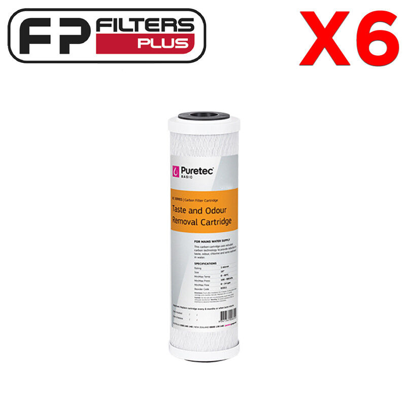 6 x 10  x 2.5  Puretec Replacement Carbon Water Filter -  0.5 Micron