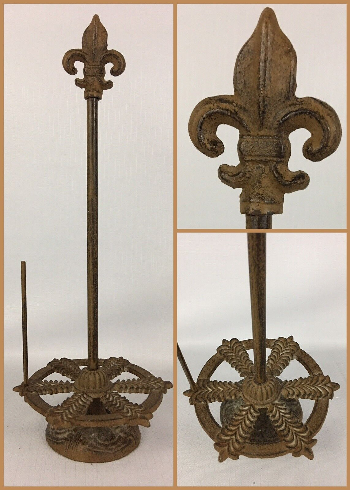 Vintage Antique Iron Metal PAPER TOWEL HOLDER - French Fleur-De-Lis Flower Lilly