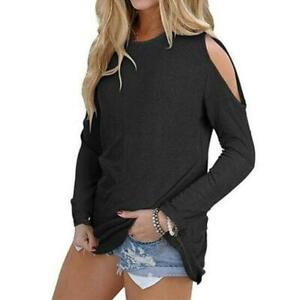 Women-Loose-Blouse-Cold-Shoulder-Round-Neck-Long-Sleeve-T-Shirt-Tops-Q