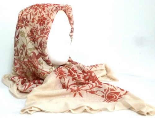 New with Tags! Two Tone Red /& Beige Floral Ladies Polyester Oblong Scarf